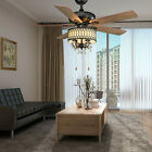 "52"" Fancy Ceiling Fan Remote Unique Crystal Light Brushed Nickel Chandelier Lamp"