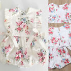 US Newborn Baby Girl Flower Ruffle Romper Bodysuit Jumpsuit Outfit Clothes 0 18M