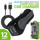 Cellet Rapid Charge 12W 2.4A Dual USB Car Charger with Micro USB Cable - Gray