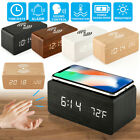 Classical Digital LED Desk Alarm Clock Thermometer Calendar Qi Wireless Charger