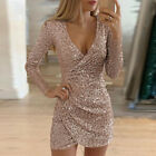 Women Sequin V-Neck Wrap Mini Dress Lady Bodycon Evening Party Long Sleeve Dress