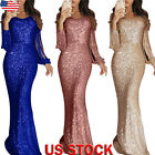Women Long Sleeve Sequins Bodycon Maxi Dress Formal Evening Party Long Ball Gown $17.01 USD on eBay