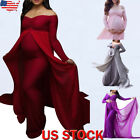 Womens Pregnant Long Maxi Dress Maternity Party Gown Pregnancy Photography Props