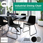 2pc Industrial Dining Chair Upholstered Fabric Kitchen Cafe Seat Chairs Metal