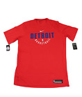 New Nike NBA Detroit Pistons Team Issued Short Sleeve Practice Shirt Red on eBay