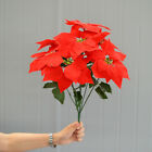 7 Heads Poinsettia Artificial Flowers Xmas Gift Christmas Tree Ornament Party