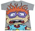 NICKELODEON RUGRATS CHUCKIE T-SHIRT HEATHER GREY RETRO 90S CARTOON TEE MENS NEW image