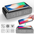 Wireless Phone Charger Alarm Clock LED Desktop Digital Thermometer Clock US 2019