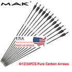 "MAK 30"" Pure Carbon Archery Arrows Spine 340 For Recurve&Compound Bow Hunting US"