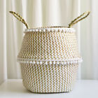 Foldable Natural Seagrass Belly Plant Laundry Storage Basket Flower Pot Novelty