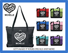 LOVE HEART CUSTOM TOTE PURSE TRAVEL GYM SPORTS DIAPER BAG PERSONALIZED W/ NAME image