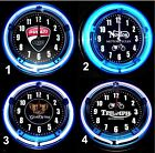 "DUCATI, NORTON, GOLDWING & TRIUMPH MOTORCYCLES LOGO 11"" Blue & Red Neon Clocks $69.99 USD on eBay"