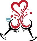 Red Wine Heart With Two Wine Glasses Valentine  - #183 - Vinyl Decal Free Ship