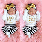 Kyпить US Newborn Baby Girl Long Sleeve Romper Bodysuit Pants Headband Clothes Top Sets на еВаy.соm