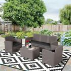 Garden 4 PCS PP Rattan Wicker Cushioned Furniture Sectional Sofa Patio Set