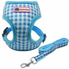 Harness Vest And Leash Grid Plaid Puppy Vest Cat Pet Harnesses For Small Dog
