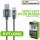 Cellet Heavy Duty 6Ft Nylon Braided USB-C Type-C Charging Data Sync Cable - Gray