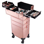 3 in1 4 in1 Aluminum Rolling Makeup Trolley Cosmetic Beauty Train Case Organizer