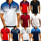 Mens Summer Button Zip Short Sleeve Polo Shirts Casual Party Golf Tops Holiday