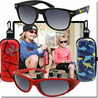 KIDS SPORT WRAP SUNGLASSES FOR BOYS WITH MATCHING CASE SPIDERMAN AND SHARK STYLE