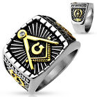 Masonic Black & Gold IP Accent, Stainless Steel 316 L Lodge Ring 7-14