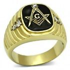 Freemasons's Gold IP Stainless Steel 316L Masonic, Clear Crystal Lodge Ring 9