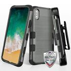 For iPhone XS/X TUFF Hybrid Phone Shockproof Protector Cover Case Holster Combo
