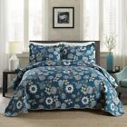 NEWLAKE Quilt Bedspread Sets-Blue Floral Secret Pattern Reversible Coverlet Set,