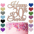 Personalised Happy Birthday Glitter Cake Topper Any Name Age 18th 21st 30th 40th