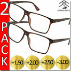 READING GLASSES MENS WOMENS HIGH QUALITY SPRING HINGE READERS 2 PACK NEW SQUARE
