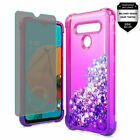 For LG K51 Liquid Glitter Two Tone TPU Cover Case + Tempered Glass