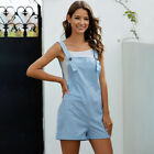 Womens Summer Casual Jumpsuit Dungarees Ladies Pocket Shorts Playsuit Overalls