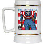 Born In The Usa Captain America American Flag 4th Of July Beer Stein 22oz Mug