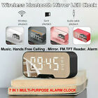 Digital Alarm Clock FM Radio Wireless bluetooth Mirror LED Clocks With Speaker