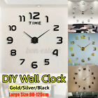 DIY Large 3D Number Mirror Wall Sticker Modern Home Decor Big Watch Art Clock