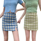 High Waist Women Bodycon Plaid Mini Skirt A Line with Safety Shorts Side Split
