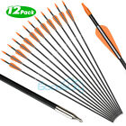 "12/24x 32"" Archery Carbon Arrows Spine 500 Compound Bow Target Practice Hunting"