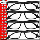 Reading Glasses Mens Womens Unisex Readers 4 PACK Square Frame New Style Quality