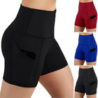 Womens With Pockets Running Yoga Athletic Short Tummy Control Workout Pants @#h