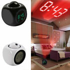 LED Digital Projection Alarm Clock Voice Weather Temperature Snooz Ceiling/Wall