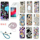 6 in 1 Bling Phone Case & 3 Glass Screen Protector Films & 2 Crystals Lanyards I