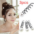 3PCS Pearl Black Spiral Spin Screw Bobby Pin Hair Clips Lady Twist Barrette _ IC