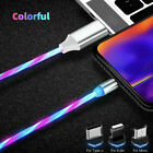 360° Rotate LED Flowing Light Up Magnetic Fast Charger Cable For iOS iPhone USB