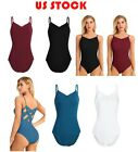 US Womens Ballet Leotard Thong Bodysuit Gymnastics Costumes One Piece Monokini