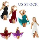 US Women Ice Skating Dress Ballet Dance Leotard Dress Chiffon Gymnastics Skirts