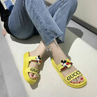 Mickey Mouse Women Anti-Slip Home Slippers Cartoon Mules Sandals Flat Shoes