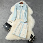 runway wholesale Lapel neck Long sleeves Button top Hollow out Skirt suit