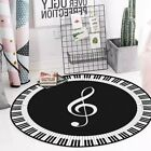 Modern Round Black & White Rug/Carpet Musical Note Piano Theme
