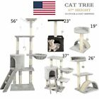"56"" Cat Tree Condo Tower Pet Kitty Play Climbing Furniture w/ Scratching Post"