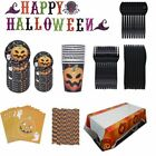 Happy Halloween Party Decoration Supplies Pumpkin TableCover Straws Paper Plates